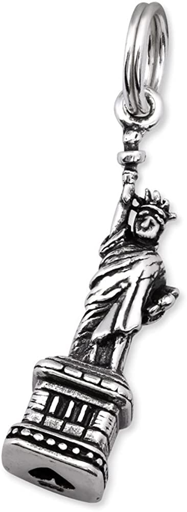 Solid 925 Sterling Silver Dangling Split Top Statue of Liberty Charm Bead for European Snake Chain Bracelets 30341