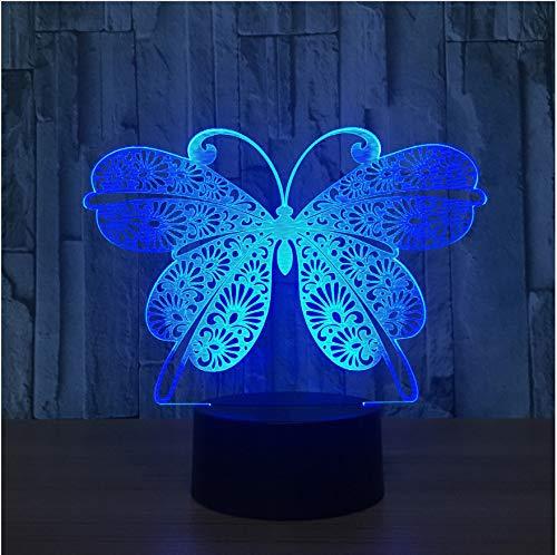 3D Visual 7 Colores Gradientes Atmósfera Lámpara Lámpara Lámpara de Mesa Led Mariposa Noche Luz Usb Novedad Bebé Sueño Iluminación Niños Regalos de Navidad c6cb59
