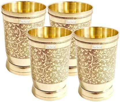 Vardhantcrafts Pack of 4 Brass Glass 300ml