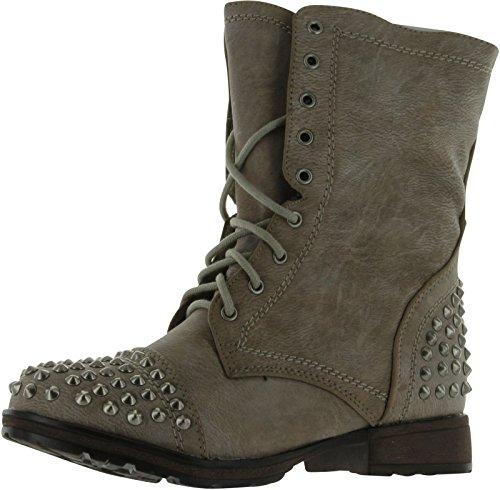 Breckelle's Georgia 28 Women's Combat Boots Military Studs Studded,Ice,6.5