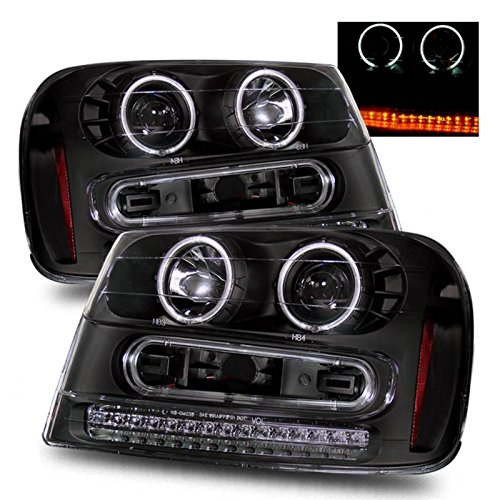 SPPC Black Projector Headlights Assembly Set with CCFL Halo For Chevrolet Trailblazer - (Pair) Drive Left and Passenger Right Side Replacement ()