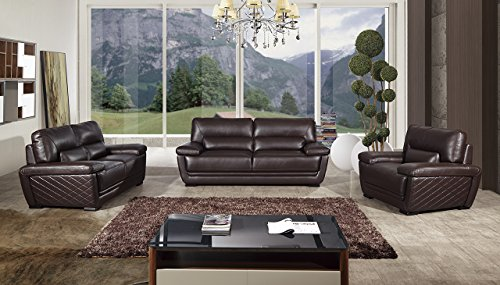 American Eagle Furniture Emma Collection Modern 3 Piece Italian Leather Living Room Set with Sofa, Loveseat and Chair, Dark Brown