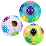 3Pcs Rainbow Fidget Ball Intelligence Magic Rainbow Ball Pop 3D Puzzle Speed Cube Ball Stress Reliever Fidget Cube Toys Football Style Brain Teasers Color-Matching Sensory Play Ball for Adult Kids