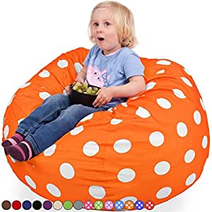 Oversized Bean Bag Chair in Vibrant Orange & White Dots - Machine Washable Big Soft Comfort Cover & Memory Foam Filler - Cozy Lounger & Bed - Kids & Teens Love This Huge Sack - Panda Sleep Furniture