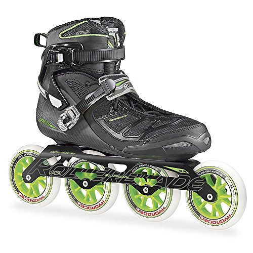 Rollerblade 2015 TEMPEST 110C Premium Fitness/Race Skate with 4x110mm US Made Hydrogen Wheels - HTO PRO Super Precise Bearings, Black/Green, US Men 10
