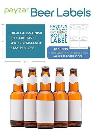 Payzar Beer Labels, Waterproof, Blank to be Personalized, Beer Bottle Labels 40 Pack, Inkjet Compatible]()