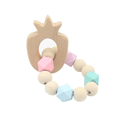 Bluelans Wooden Baby Infant Teether Beaded Animal Charm Teething Bracelet Chewing Toy for Kids Boys Girls Xmas Gifts Xmas Stocking Fillers Party Bag Gifts: Toys & Games