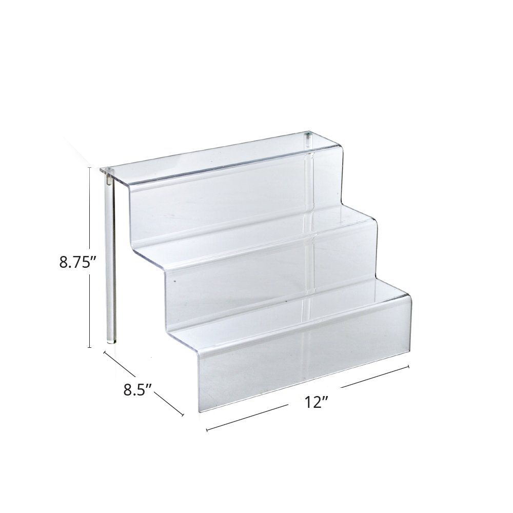 Azar Displays 326043 12'' W by 8.5'' D Three-Tier Acrylic Step Display, 4/Pack