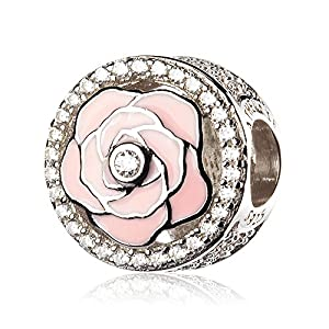 ATHENAIE 925 Sterling Silver Pave Clear CZ Enamel Light Pink Rose Flowers Bloom Bead Charms for Bracelet