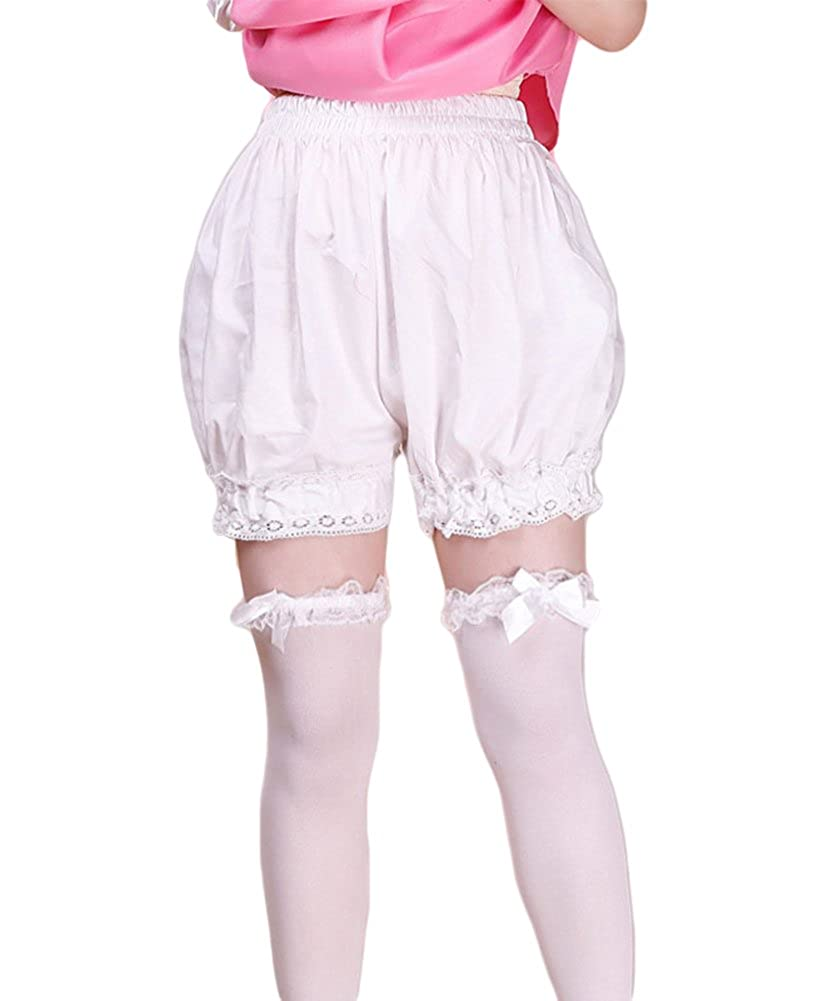 Women's Short White Cotton Lace Bloomers - DeluxeAdultCostumes.com