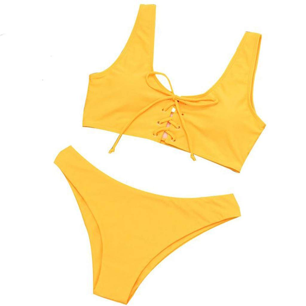 Alangbudu Womens 2 Pieces Padded Up Criss Cross Lace Up Bikini Sets Sports Low Scoop Crop Top High Waisted High Cut Bottom Yellow