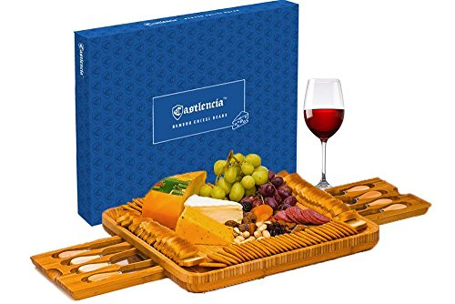 Extra Large Bamboo Cheese Board– Natural Wooden Serving Platter for Spreads, Crackers, Brie, Dried Fruits, Meat and Wine- Double Drawer with 8 Knives - Server for Parties - Perfect Gift