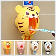 Fusicase Toothbrush Dispensers,Fusicase Hands Free Toothpaste Dispenser Automatic Cartoon Cute Animal Toothpaste Dispenser Good Gift for Children(Tiger)