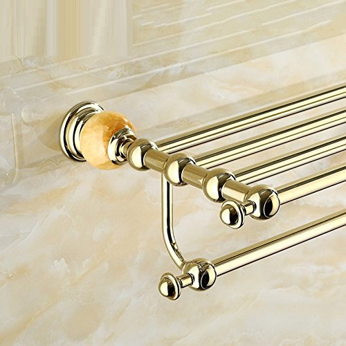 LJ&L European retro style copper alloy towel rack, drilling installation, anti-corrosion, home and hotel bathroom upscale luxury decoration hardware accessories,A,Length 60cm by LIUJIANGLONG (Image #1)