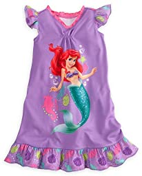 Disney Princess Ariel Girls Nightgown Little Mermaid Sleepwear (Size XS 4)