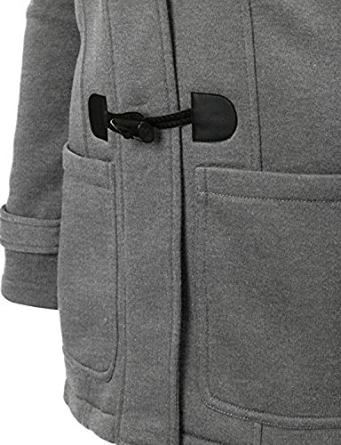 Womens Wool Outerwear Classic Plus Size Pea Coat Jacket with Hood 3XL Grey