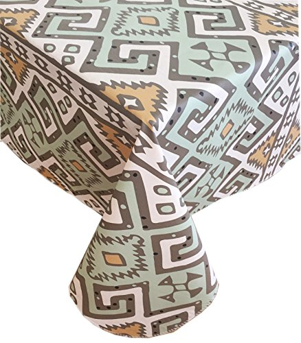 Home Bargains Plus Tribal Aztec Flannel Backed Heavy Gauge Vinyl Tablecloth - Turquoise and Gold - Indoor/Outdoor Use, (70 Inch Round)