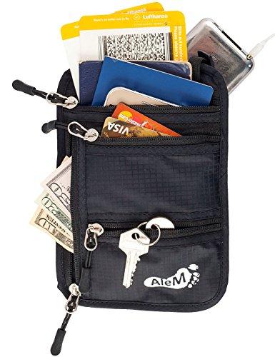 Travel Neck Wallet & Passport Holder - Hidden Anti Theft RFID Blocking Pouch by AleM