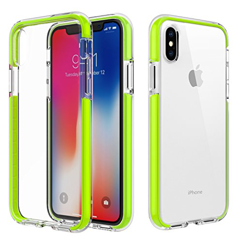 (MoKo Case Compatible with iPhone Xs/iPhone X/iPhone 10, Clear Case with Light and Slim Flexible Bumper TPU Rubber Anti-Scratch Cover Fit with Apple iPhone Xs 2018 / iPhone X 2017 - Green)