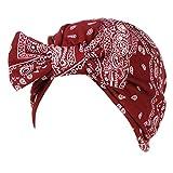 FEDULK Women Headscarf Headwrap Hijab Soft Head Wrap Stretch Cancer Chemo Muslim Cap Islamic Underscarf Hats(Wine Red)