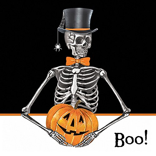 Paperproducts Design 7885 Paper Beverage/Cocktail Halloween Napkin, 5 by 5-Inch, Skeleton Boo!]()