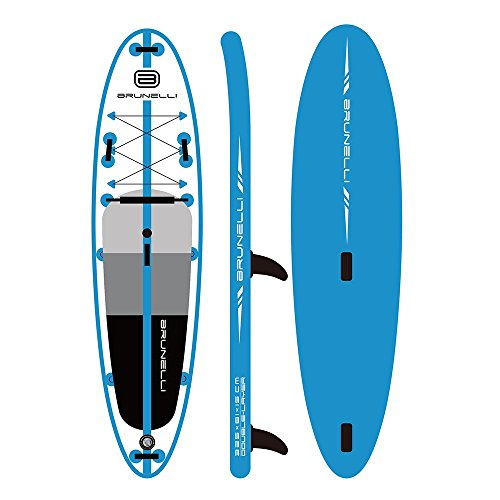 - ISINO 10'8'' Windsurfing Blue Inflatable Stand Up Paddle Board with Dual Action Hand Pump, Backpack with Wheels, Ankle, Double Leaf Paddle