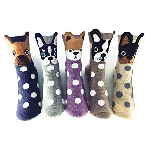 Womens Casual Cute Animal Socks Funny Cotton Crew Socks for Women Girls 5 or 10 Pack Novelty Socks Spot Dogs