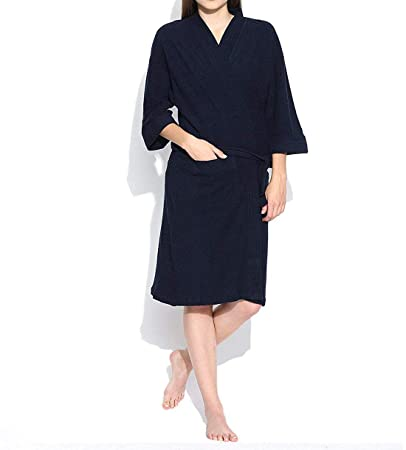 Linenwalas Super Comfort Unisex Bath Gown/Night Gown Pollar Fleece Plain Bath Robe - Navy Blue - XL/Large