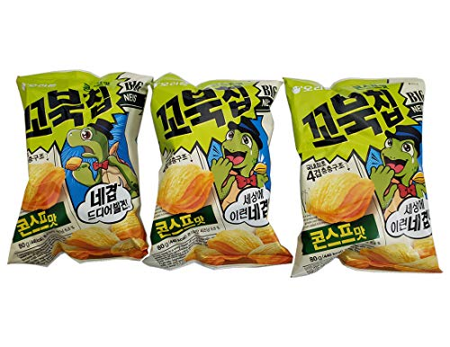 Korean Orion New Four Layers Turtle Chips Corn Soup Flavor 3 Packs (Corn Chips Korean)