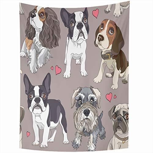 Ahawoso Tapestry 60x90 Inch Pug Bulldog Pattern Different Puppies Dog French Schnauzer Face Puppy Beagle Wall Hanging Home Decor for Living Room Bedroom Dorm