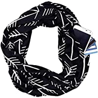 Fashion Scarves for Women, Girls, Ladies, Infinity Scarf with Zipper Pocket Pattern Print Lightweight Wrap