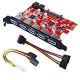 Inateck KT5001 PCI-E to USB 3.0 5-Port PCI Express Card and 15-Pin Power Connector, Red