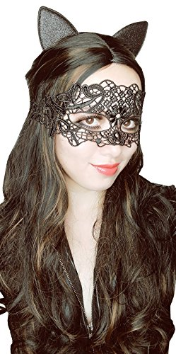 Catwoman Costume Ideas For Halloween (Bonnie Z. Leonardo Black Lace Masquerade Mask with Cat Ears Headband Flower)