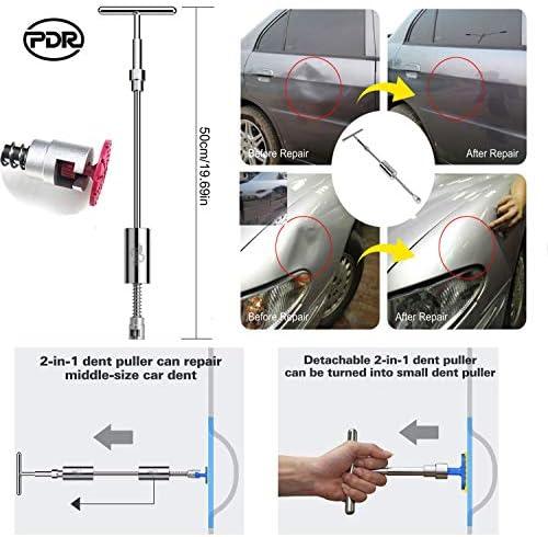 Goliraya 5-TLG.Ausbeulwerkzeug-Set Dellen Reparaturset Auto Paintless Dent Removal Kit Auto Dellen Repair Dellen Reparatur,Verstellbarer Griff,Federstahl,Gelb und Rot