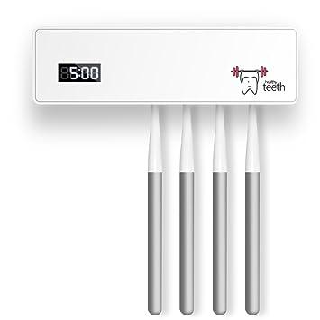Koopower - Esterilizador de Cepillo de Dientes UV para Pared, fácil de Instalar en el Cuarto de baño con Cinta Adhesiva 3M, 4 cepillos, Color Blanco: ...