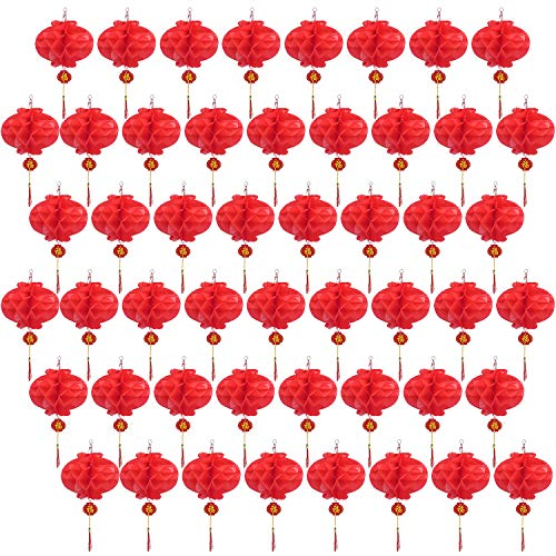 Livder 50 Pieces Chinese New Year Red Paper Lanterns Spring Festival Hang Lantern Decorations, 10 Inch