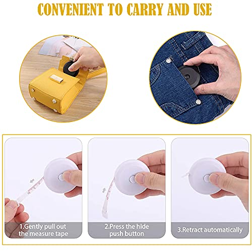 AXEN 3 Pack Measuring Tape Set, Soft Tape and Retractable Dual Sided Measure Tape Body Tailor Sewing Craft Cloth Dieting Measuring Tape for Sewing Tailor Fabric Body Measurements