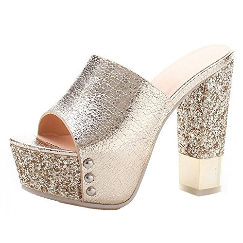 CoolCept Women Block Heels Slides Sandals Clog and Mules Glitter Fashion Party Shoes Peep Toe Gold