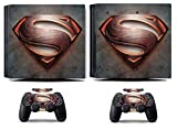 Cosines PS4 Pro Stickers Vinyl Decal Protective Console Skins Cover for Sony Playstation 4 Pro and 2 Controllers Super Hero Small Ville Steel Man Kryptonian