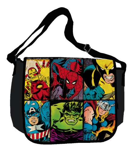 Silver Buffalo MC6101MB Marvel Characters Grid 15-Inch by 12-Inch Messenger Bag, Multi-Color