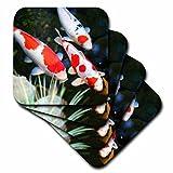 3dRose cst_62378_3 Japanese Orange and White Koi Fish-Ceramic Tile Coasters, Set of 4