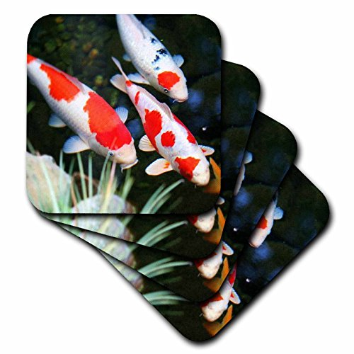 3dRose cst_62378_3 Japanese Orange and White Koi Fish-Ceramic Tile Coasters, Set of 4 by 3dRose