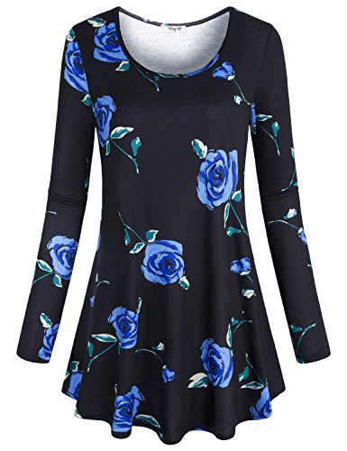 Hibelle Floral Tunic Tops for Women, Ladies Chic Blue Flower Print Pattern Blouse Leisure Long Sleeve Crew Neck Designer Drape Nicely Business Casual Shirts and Blouse Black X -