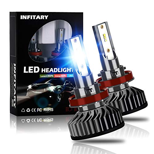 INFITARY H11/H8/H9 LED Headlight Bulbs Conversion Kit All-in-One 10000LM 6500K ZES High Low Hi/Lo Beam Super Bright Cool White Fog Light Plug Play Car Motorcycle Replacement LED Auto Headlamp 3Yrs ()