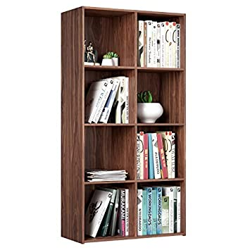 Homfa 8 Cube Bookcase Modular Storage Organizer Cabinet, Wood Bookshelf 4-Tier Modern Home Office Furniture, Walnut