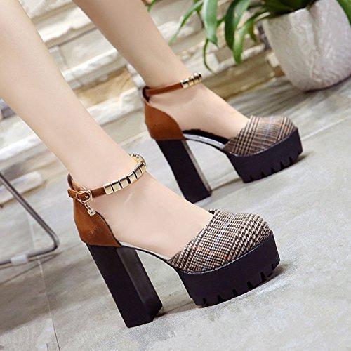 GAOLIM La Ultra-Alta Como Zapatos De Mujer Zapatos Bajos Zapatos Zapatos Único Lado Vacío Sandalias Princesa Zapatos Sandalias De Verano Brown