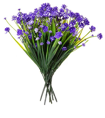 Red Co. Faux Floral Grass Bouquet, Artificial Fake Greenery Flowers for Home and Outdoor Garden Decor, 6 Single Picks, Spring Purple]()