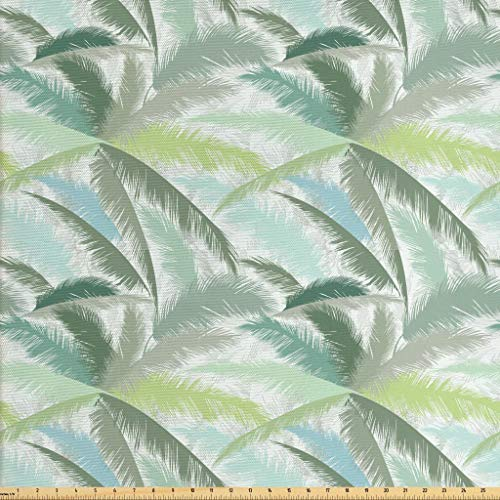 Ambesonne Palm Tree Fabric by The Yard, Leafy Branches in Shades of Green Tropical Summer Nature Rainforest Island Jungle, Decorative Fabric for Upholstery and Home Accents, 2 Yards, Multicolor