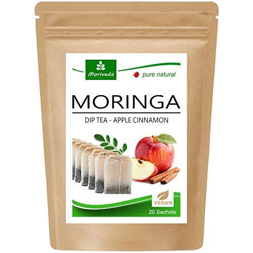 Te de Moringa 100% natural y vegano (opcionalmente Moringa-mezcla de hojas, manzana-canela, granada, jengibre, menta) 1A Calidad (20 bolsitas de te Moringa-Manzana-Cane