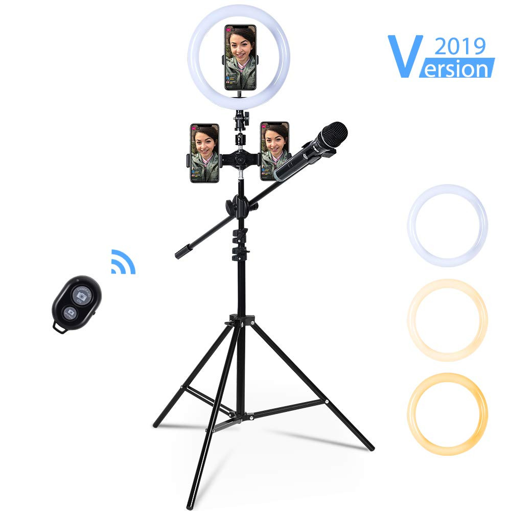 10inch LED Selfie Ring Light for Live Stream/Makeup/YouTube Video, Dimmable LED Ringlight with Microphone Holder, 3 Cell Phone Holders and Tripod Stand by IPARTS EXPERT